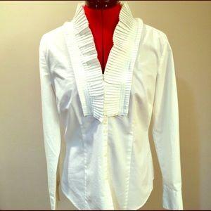 Ann Taylor LOFT Pleated Tuxedo Shirt Sz 6